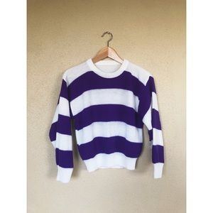 VINTAGE 1980's purple striped crop sweater top 80s